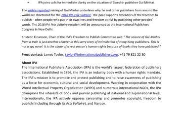 thumbnail of International Publishers Call for Gui Minhai's Release – IPA PR 24-01-18