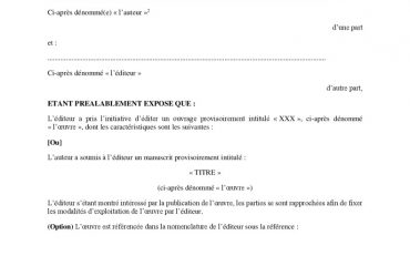 thumbnail of Modèle de contrat d'édition (Œuvre de littérature générale) Format PDF